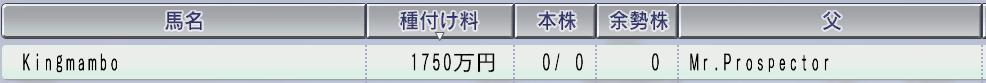 2000キングマンボ種付け料