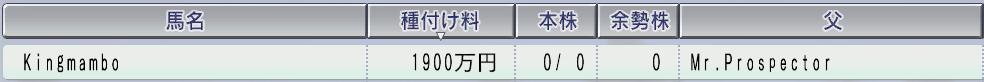 2003キングマンボ種付け料