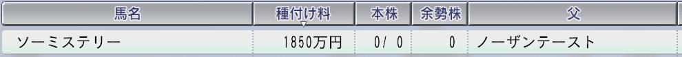 201511周目2003 ソーミステリー種付け料
