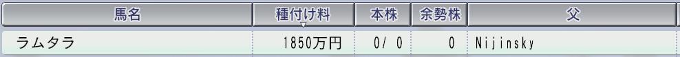 201511周目2003 ラムタラ種付け料