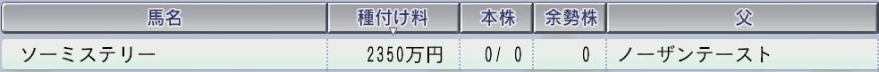 20151周目 2006 ソーミステリー種付け料
