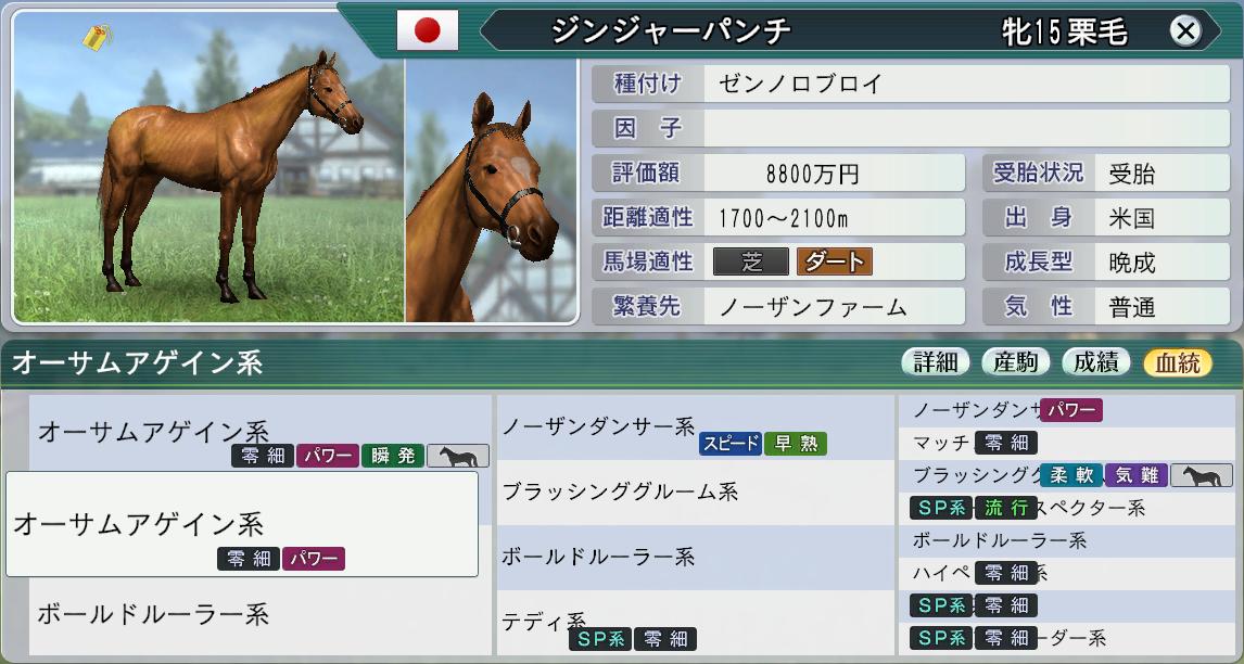 オーサムアゲイン系直系牝馬1 3-17